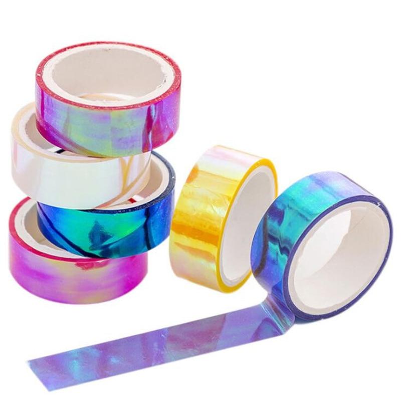 6pcs/set Laser Glitter Washi Tape Decorative Masking Tapes for Girls Diy Albums Stationery Tape
