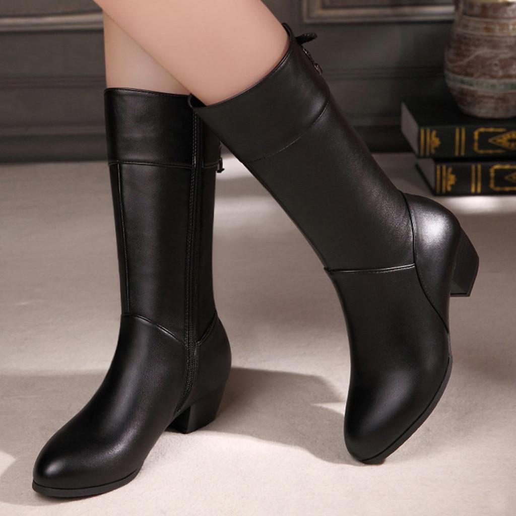 Botas de inverno mulheres botas de bezerro casual cor pura dedo do pé redondo zíper saltos quadrados sapatos femininos vintage botas mujer
