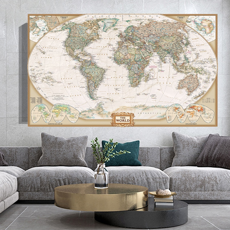 150*100cm The Vintage World Map Non-woven Canvas Painting Retro Wall Art Poster School Supplies Living Room Home Decoration