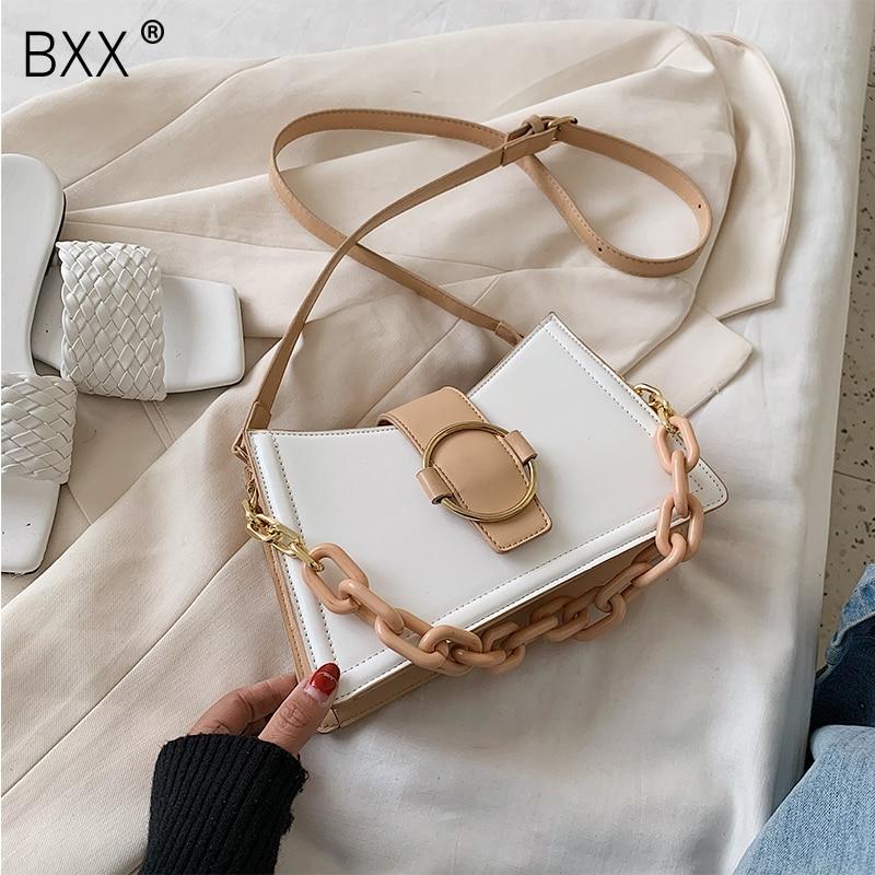 [BXX] PU Leather Crossbody Bags For Women 2021 Summer Small Fashion Shoulder Messenger Bag Lady Handbags and Purses HL757