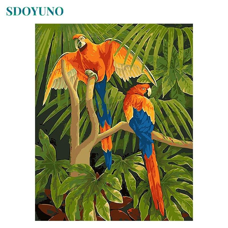 SDOYUNO 60x75cm cuadros para pared sin marco para la sala de pintura al óleo por números loro animales de trabajo de arte para la decoración del hogar