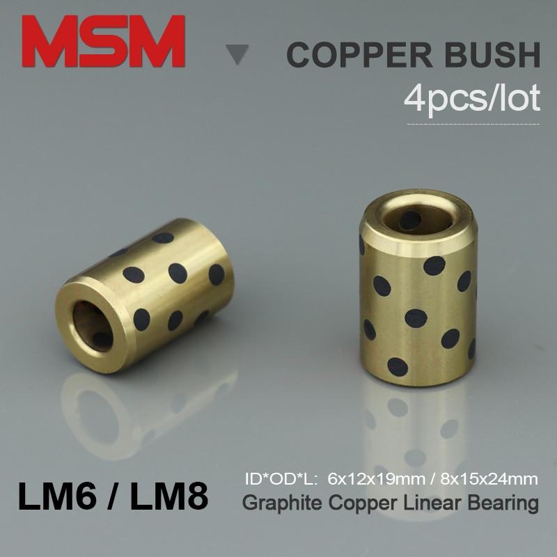 4 stücke MSM LM6 LM8 Linear Graphit Kupfer Lager 6x12x1 9/ 8x15x24mm JDB Messing bush Selbst-schmier Rutsche Hülse 3D Drucker Teile