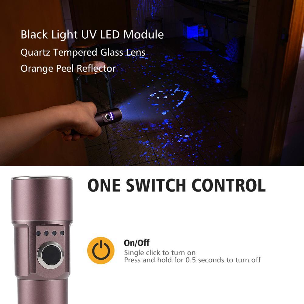 Foxhawk USB Rechargeable UV Light Flashlight, Portable UV-A Led Black Light Torch, Blacklight Detector For Pet Urine, Power Bank enlarge