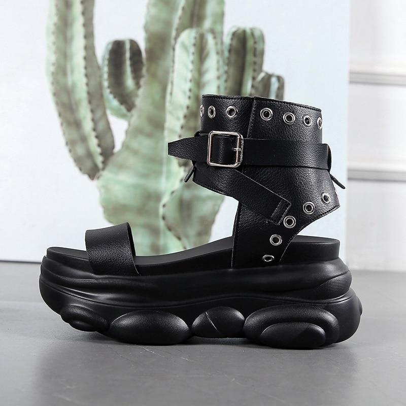 Moda cunhas sapatos para mulher sandálias 7.5 cm salto alto sapatos de verão 2020 aussures femme sandálias de plataforma de couro branco sapatos