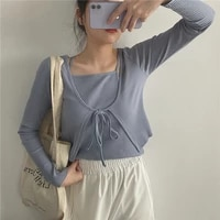 2021 womens cardigan two pieces sets knitted sweater lace up solid sweet cardigans thin slim korean clothing crop tops pullover