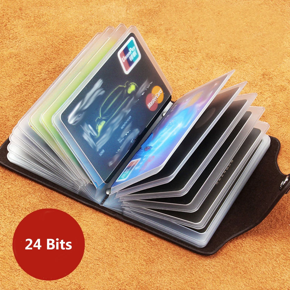 New PU Leather Function 24 Bits Card Case Business Card Holder Men Women Credit Passport Card Bag ID Passport Card Wallet Purse fashion genuine leather function card case business card holder men women credit passport card bag id passport card wallet