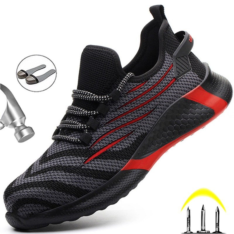 Men Work Safety Shoes Anti-puncture Working Sneakers Male Indestructible Work Shoes Men Boots Lightw