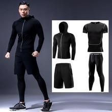 Dry Fit Men's Training Sportswear Set Gym Fitness Compression Sport Suit Jogging Tight Sports Wear C