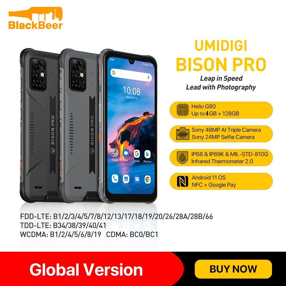 UMIDIGI BISON Pro 6.3Inch Screen MobilePhone 4GB 128GB IP68/IP69K Smartphone Helio G80 48MP Camera Cellphone Global Version NFC