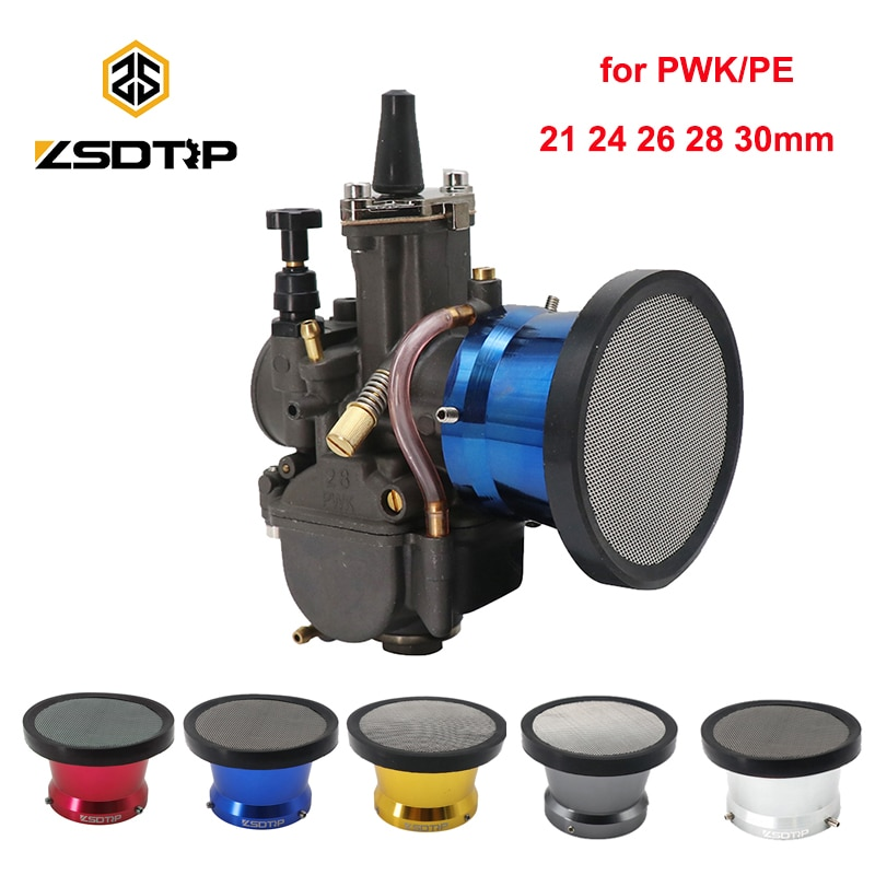 ZSDTRP nouveau 50mm moto filtre à Air vent corne coupe en alliage trompette avec Guaze pour carburateur PWK21/24/26/28/30mm PE28/30mm