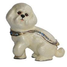 Bichon Frise Enameled pewter dog trinket box hinged keepsake box dog gifts Animal Figurine Sculpture Miniature