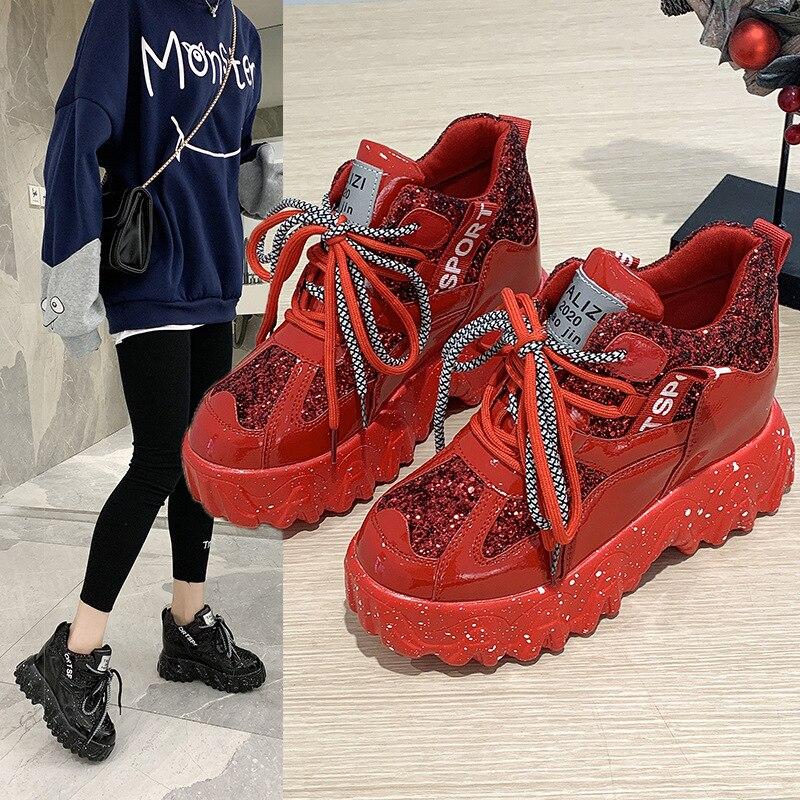Shonco aumento cuñas zapatos mujeres lentejuelas plataforma zapatillas negro 2020 primavera Casual zapatos femeninos gruesos Seakers zapatos verano