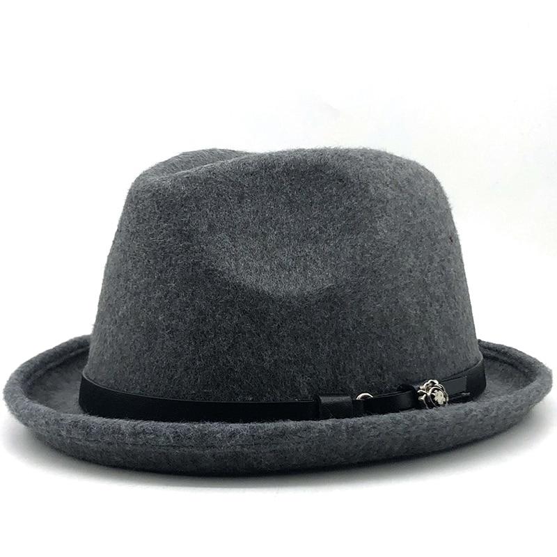 Простая мужская фетровая Шляпа Fedora для джентльмена зима осень церковная свернутая шляпа homberg Dad Jazz