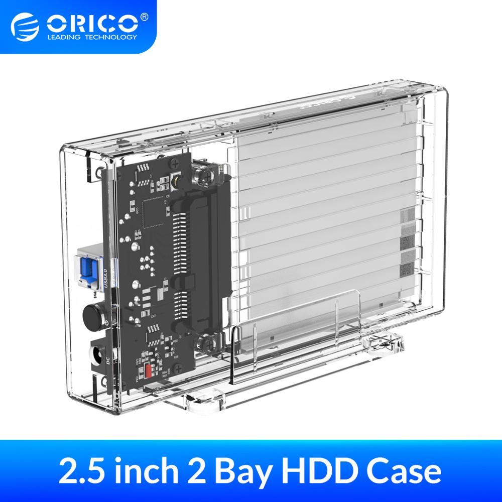 ORICO 2 Bay 2.5'' HDD Case SATA to USB 3.0 Transparent Hard Drive Enclosure Support UASP for 7-9.5 mm HDD SSD With 5V Adapter