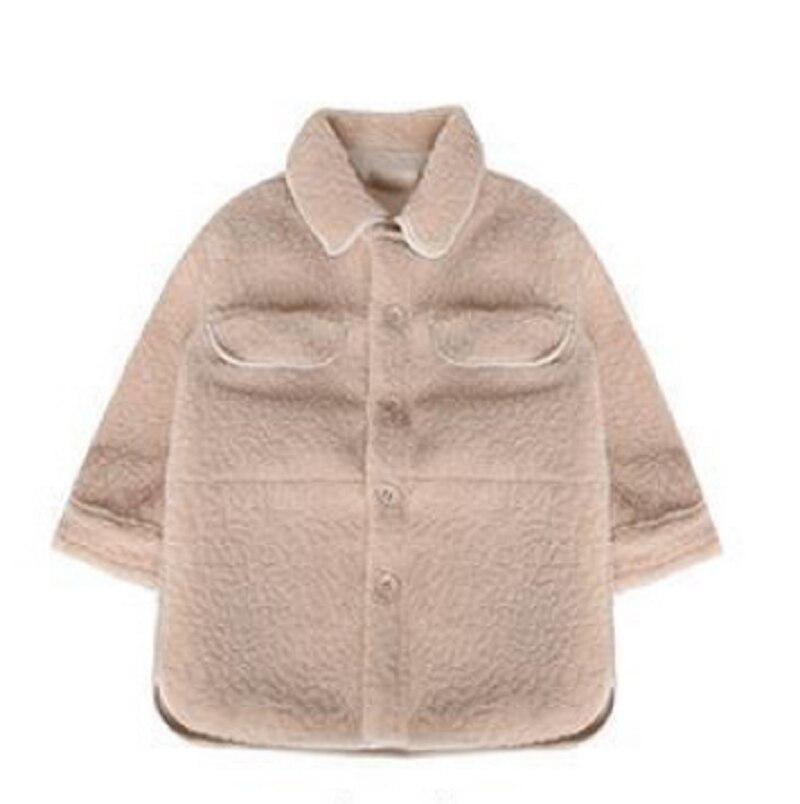 Модная куртка для маленьких девочек флисовое теплое пальто с овечкой для малышей плотная рубашка верхняя одежда на весну, осень, зиму, одежд...