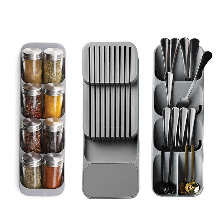 درج مطبخ أدوات المائدة صينية تخزين حامل سكاكين ملعقة شوكة أدوات المائدة المنظم الحاويات ل زجاجات توابل سكين كتلة رف