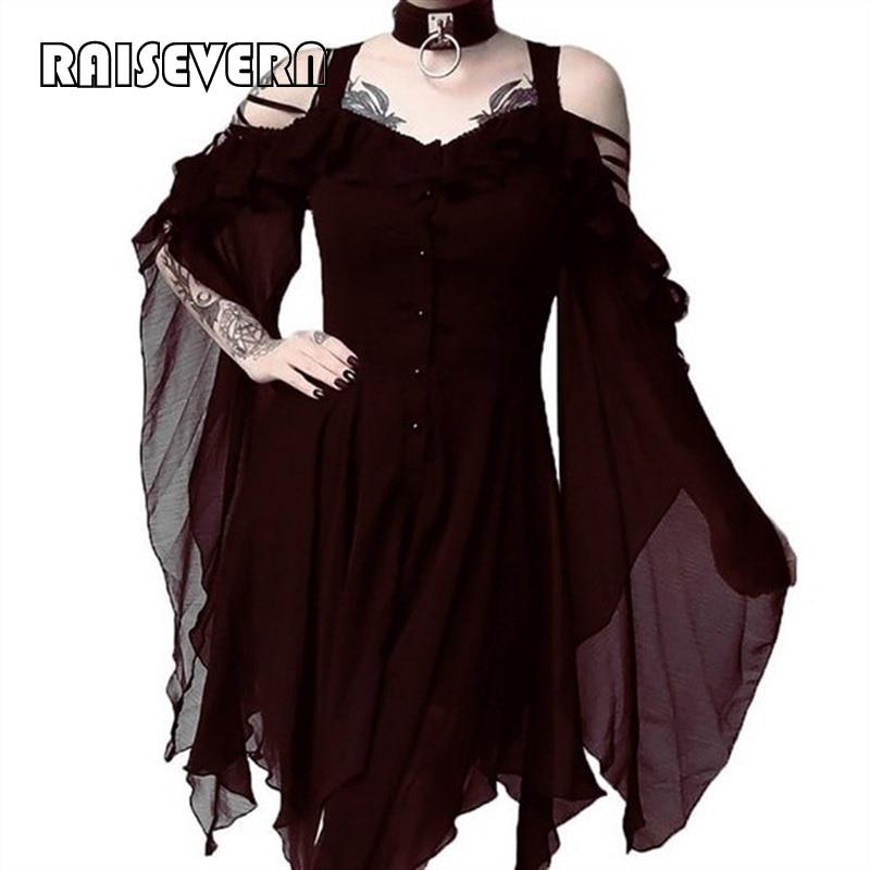 Vestido gótico Vintage Manga mariposa encaje hasta empalme cintura alta vestido negro ahueca hacia fuera Halloween Sexy fiesta Goth Vestidos 5xl