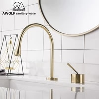bathroom brushed gold basin sink faucet solid brass matte black split switch kitchen deck mounted hot cold mixer tap ml8075