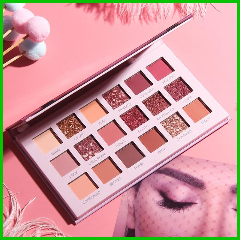 Paleta de sombra de ojos de 18 colores para mujer brillo mate pigmento metálico impermeable de larga duración Kit de sombra de ojos paleta de maquillaje