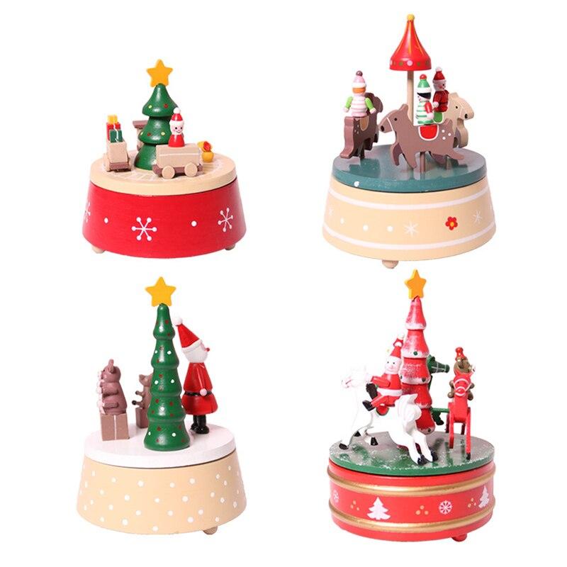 Caja de música de madera, modelo en miniatura de carrusel, decoración de Navidad, regalos de cumpleaños, figurita hecha a mano, muñecos de nieve, ornamento para niños, juguetes