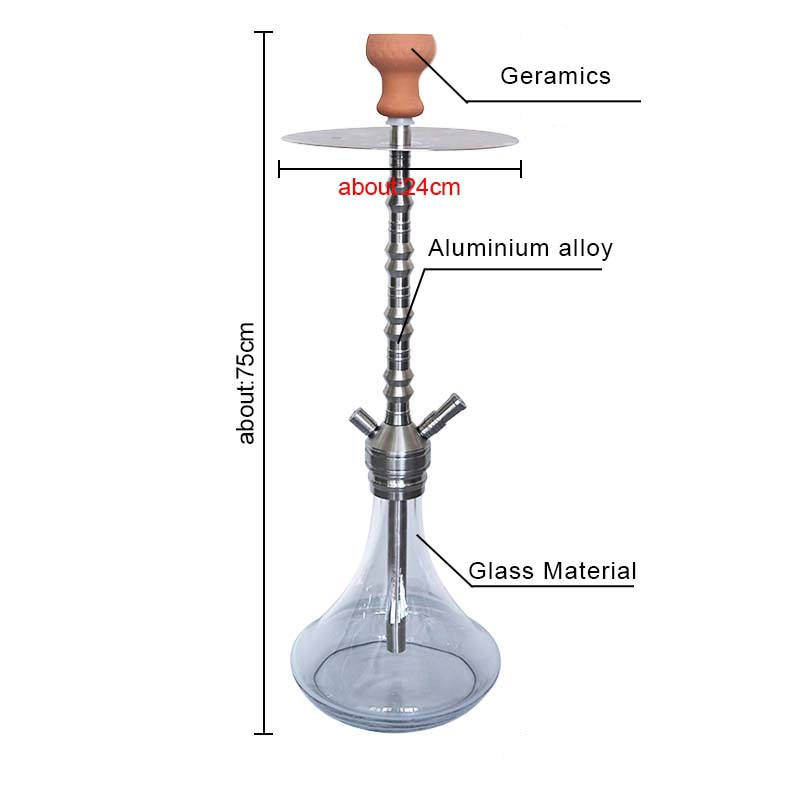 SY Large Size Stainless Steel Hookah Shisha Set With Spring Ceramic Bowl For Smoking Shisha Water Pipe Chicha Narguile enlarge