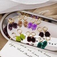 vintage grape earrings fashion simulation grape bunch pendant earrings woman earrings hoop earrings jewelry