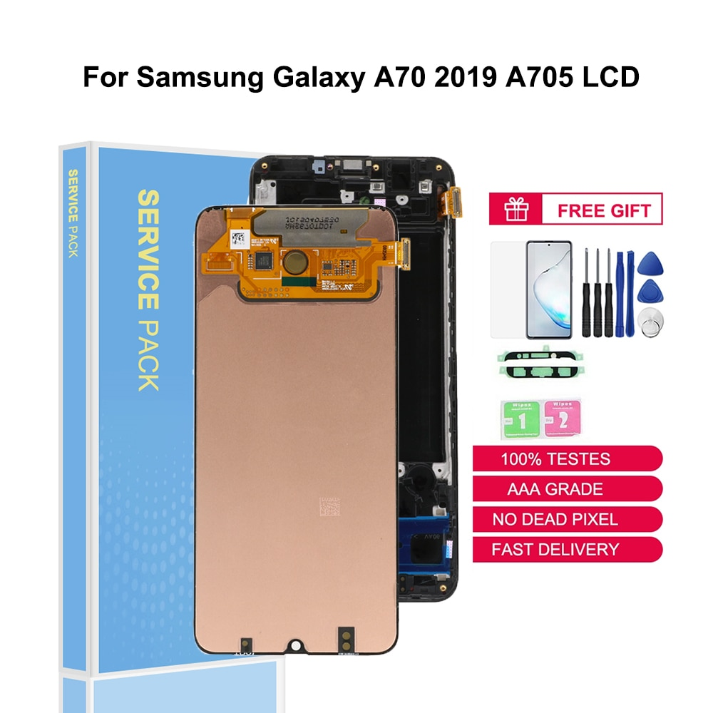 Original LCDs SUPER AMOLED For Samsung Galaxy A70 2019 A705F LCD Screen Touch Digitizer Display Replacement Part With Frame