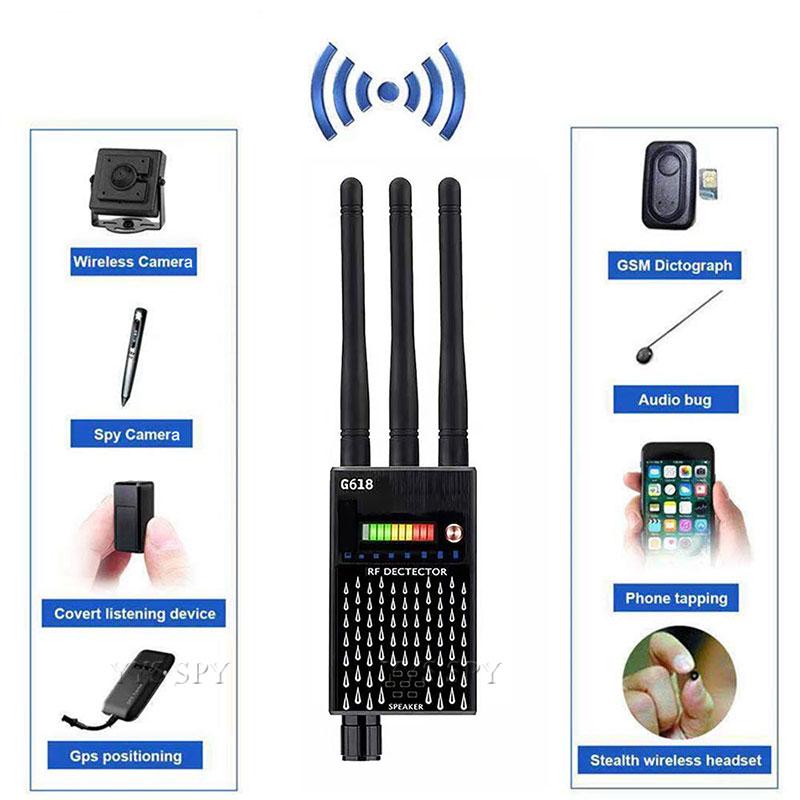 Professional G618 Detector 3 Antenna Anti Spy RF CDMA Signal Finder For GSM Bug GPS Tracker Wireless Hidden Camera Eavesdropping enlarge
