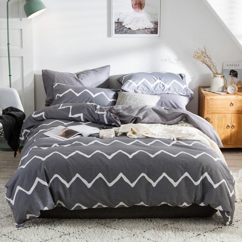 Волна серый постельное белье 100% хлопок простой геометрический наволочка постельное белье Твин Queen King Size постельное белье