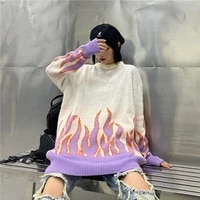 2020 flame crew neck knitwear jacquard women s sweater hip hop sweater pullover hipster sweater woman clothing