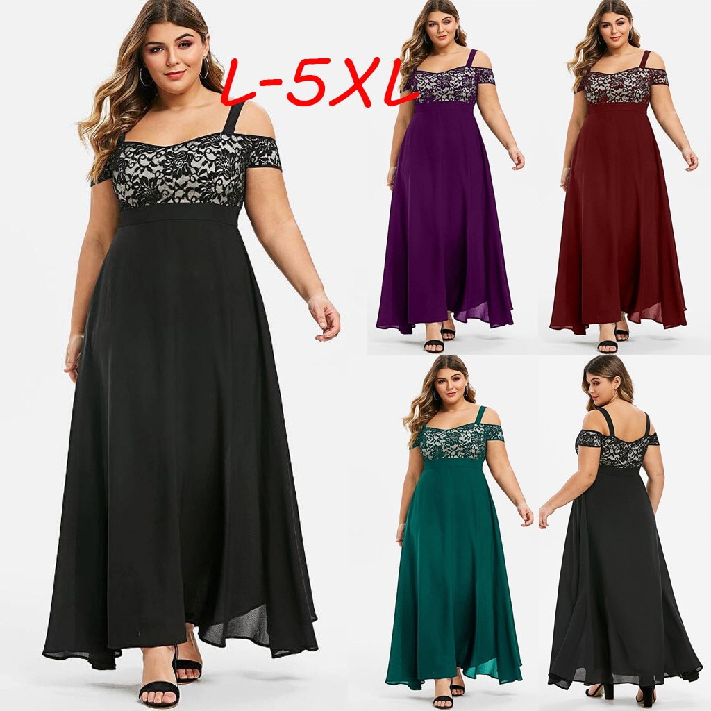 Фото - Plus Size Women Dress Cold Shoulder Floral Lace Maxi Dress Lady Party Evening Camis Long Dress Ropa Mujer Female Fashion bell sleeve cold shoulder lace panel dress