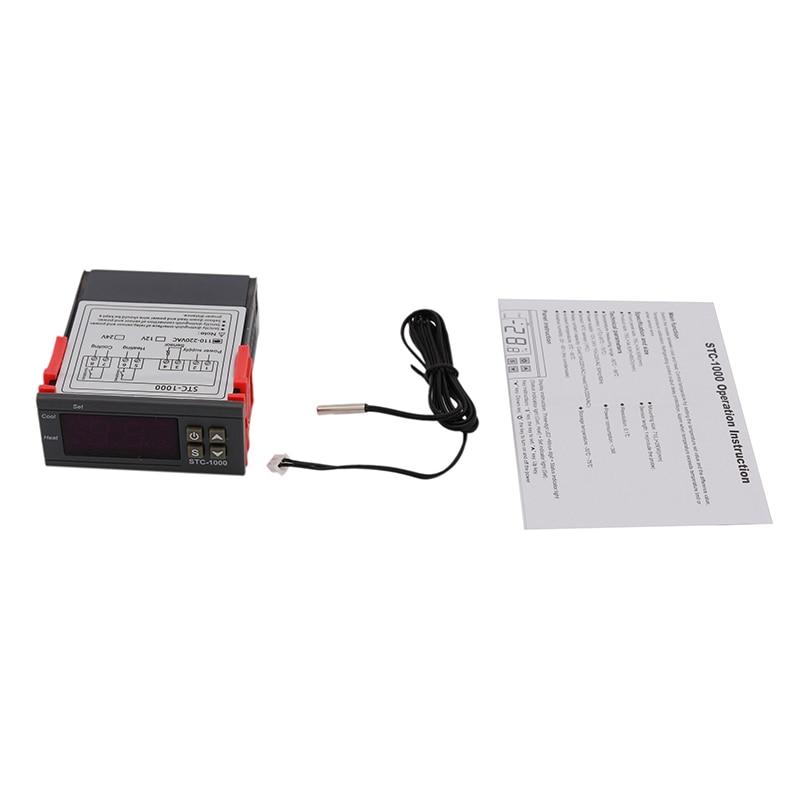 Controlador de temperatura Digital de STC-1000 110-220V AC/AC w/Sensor NTC termostato y de control de enfriador de cerveza