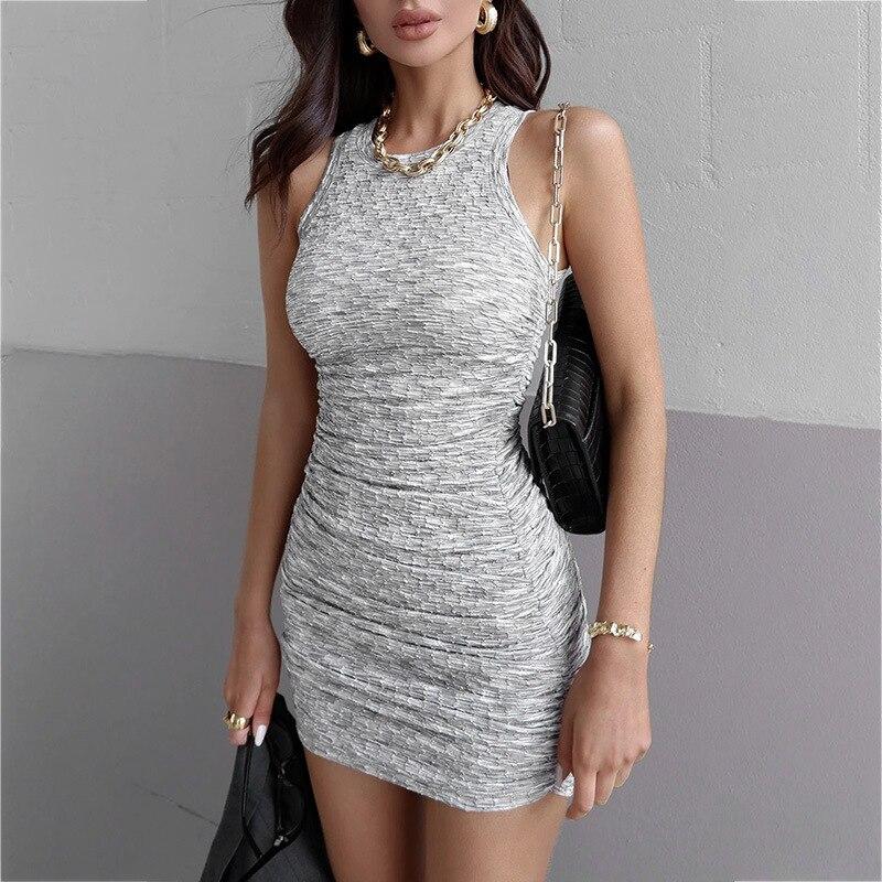 Соблазнительное женское мини-платье, облегающее, обтягивающее, уличная одежда, однотонная одежда для вечеринки, женская одежда