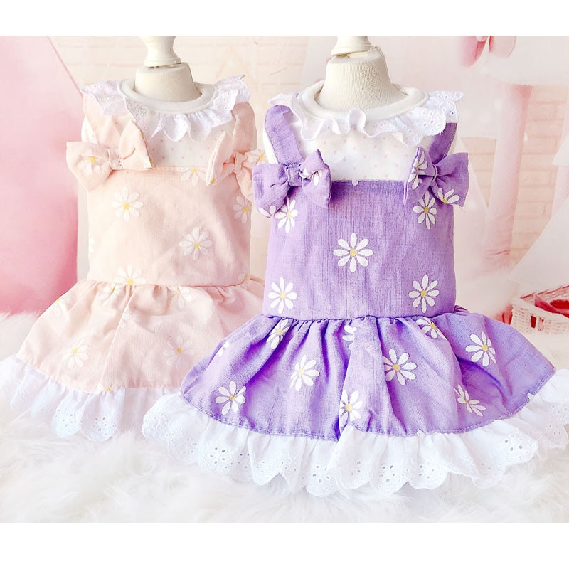 Pink Purple Night Dress Bowknot Straps Dog Print Girl Dresses For Small Dogs Chihuahua Sunflower Prom Dresses Quinceanera Robe L