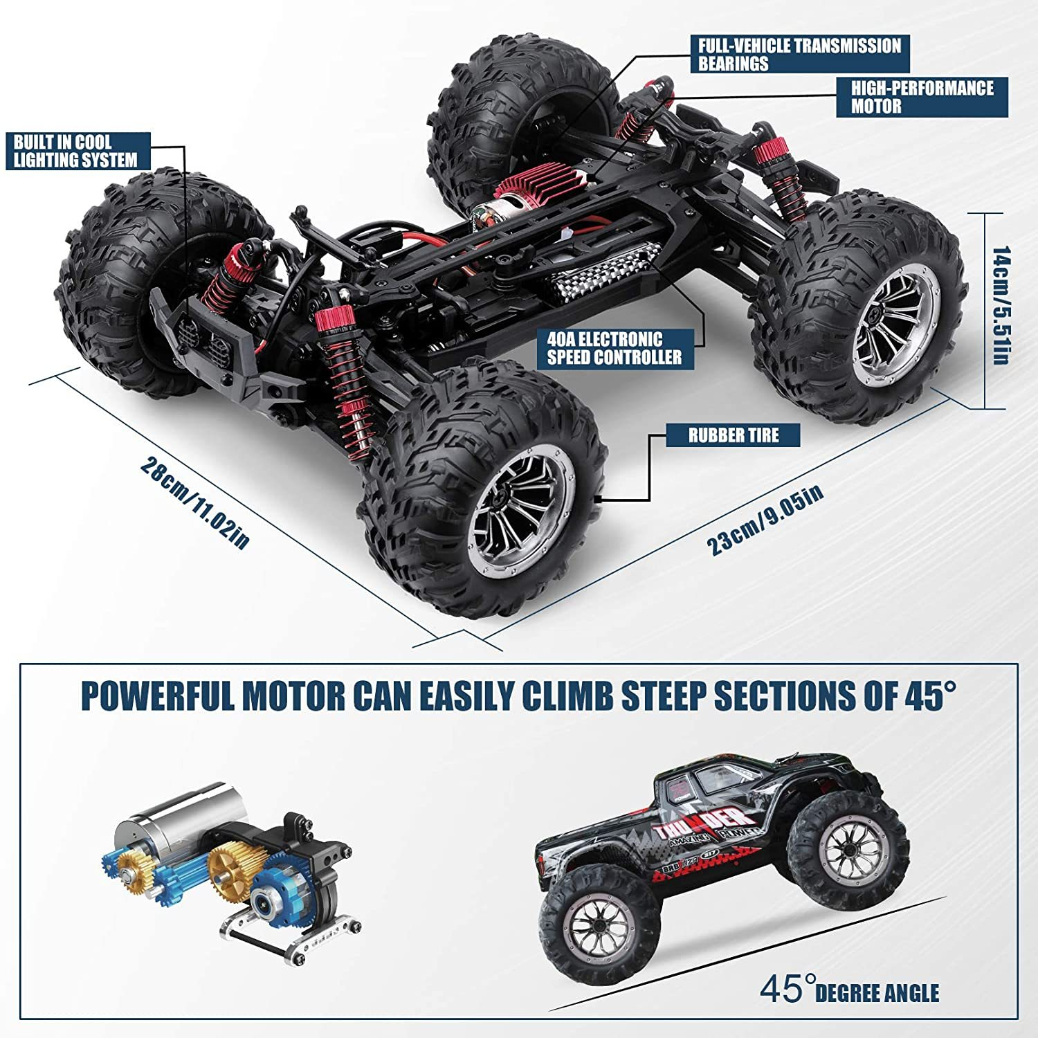 RC Car 2.4G 40km/h 1:16 High Speed Racing Car Supersonic Truck 4WD Off-Road Vehicle Electronic Adults RC Car Gift enlarge