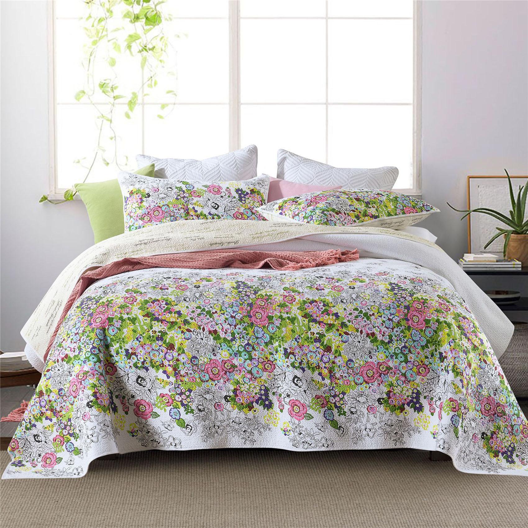 زهرة المفرش ل سرير مزدوج لحاف القطن 3 قطعة مجموعة مبطن غطاء السرير المخدة الملكة حجم بطانية الصيف بطانيات CHAUSUB