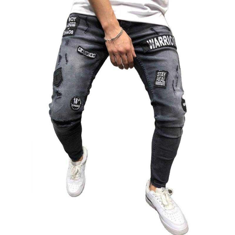 Pantalones Vaqueros rasgados grises con apliques bordados a la moda Vaqueros desgastados...