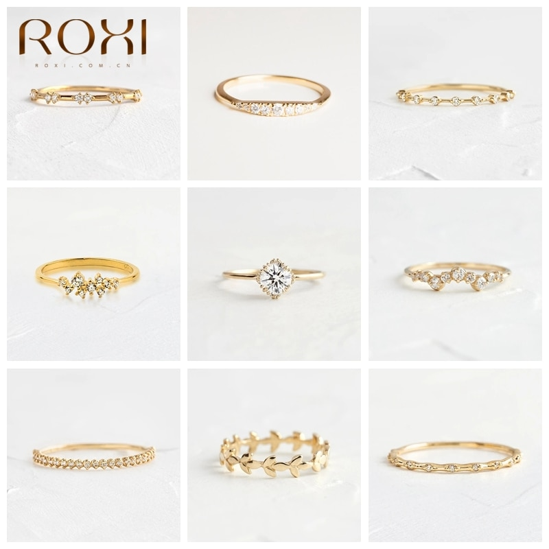 AliExpress - ROXI 925 Sterling Silver Diamond Finger Rings For Women Girls Wedding Bands Couple Rings Jewelry Anniversary Engagement Rings