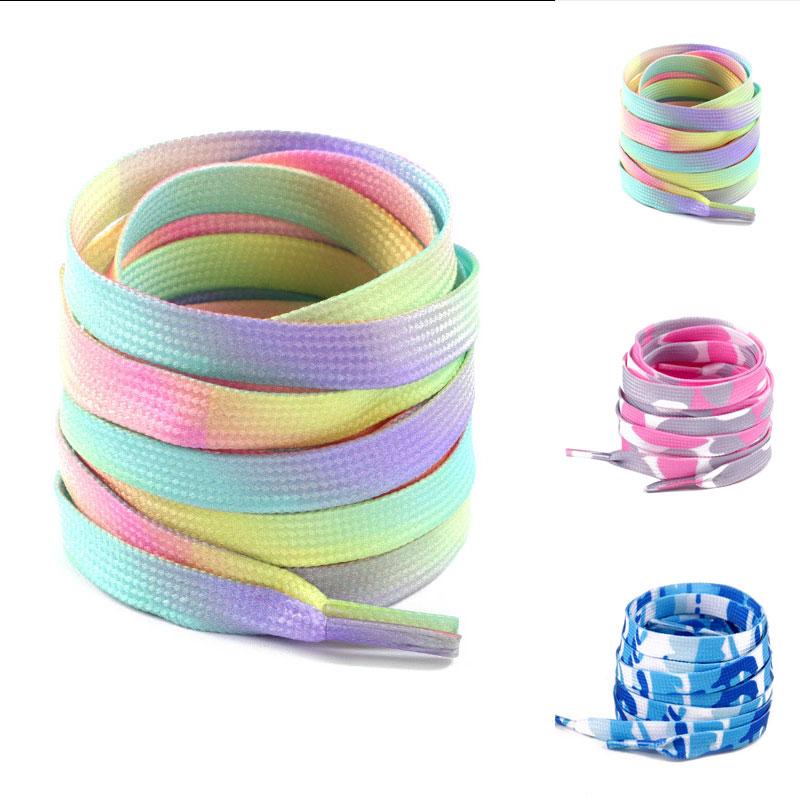 Colorful Flat Shoelaces Fashion Rainbow Gradient Print Canvas Sneakers Shoe Laces Casual Shoelace Ki