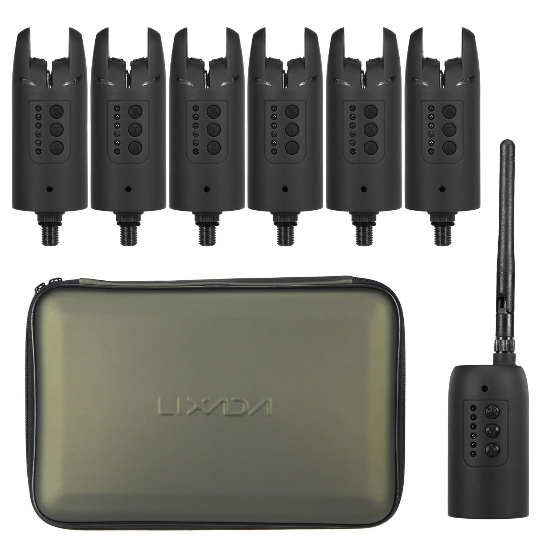 Lixada-طقم إنذار صيد رقمي ، لاسلكي ، لدغة ، مؤشر LED ملون متغير مع حقيبة محمولة