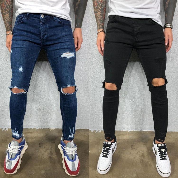2020 Men Stylish Ripped Jeans Pants Biker Skinny Slim Straight Hole Denim Trousers New Fashion Clothes
