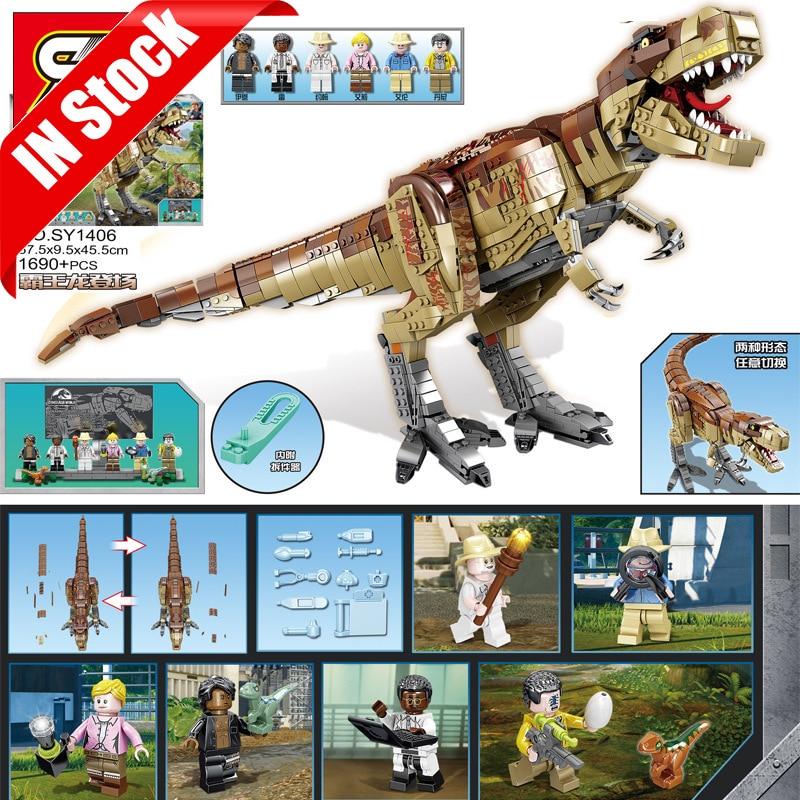 En Stock, Sy1406 1690 Uds., dinosaurio tiranosaurio gigante, edificio creativo, bloques 75936, ladrillos de juguete