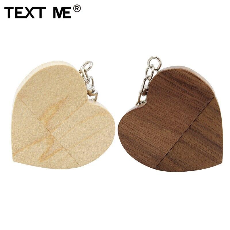 TEXT ME creative love maple mood Walnut wood heartmodel usb flash drive  4GB 8GB 16GB 32GB 64GB usb 2.0 gift pendrive LOGO