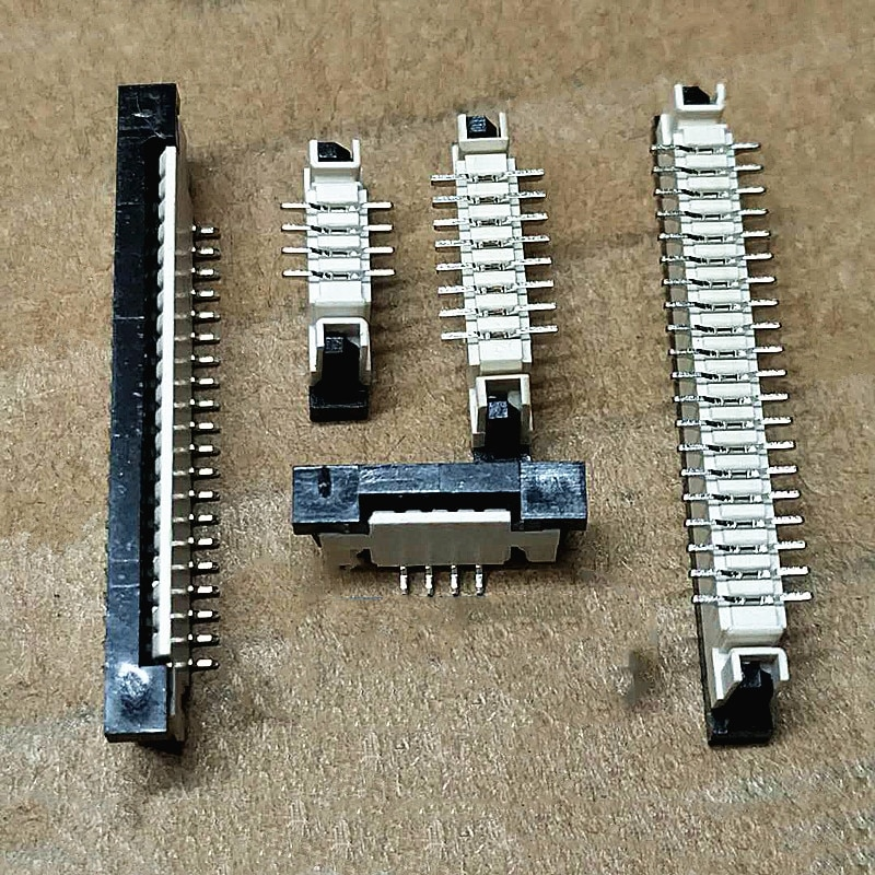Soquete vertical de uma peça do passo de 10 pces fpc/ffc 1.0mm com conector do fechamento 4 p 6 p 8 p 10 p 12 p 14 p 16 p 18 p 20 p 22 p 24 p 26 p 28P 30P