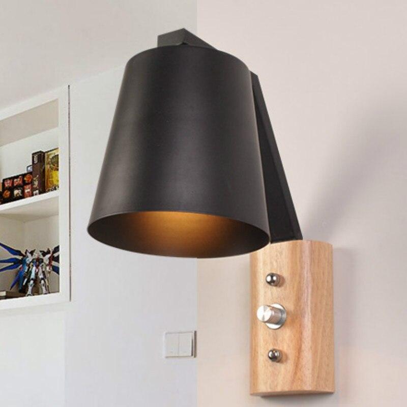 Lámpara Led de pared de madera para mesita de noche, dormitorio, espejo...
