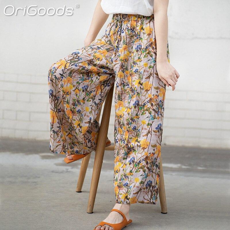 أصلي زهرة طباعة بنطال ذو قصة أرجل واسعة للنساء 2021 الصيف الكتان السراويل واسعة أنيقة موضة حجم كبير بنطلون النساء السراويل E003