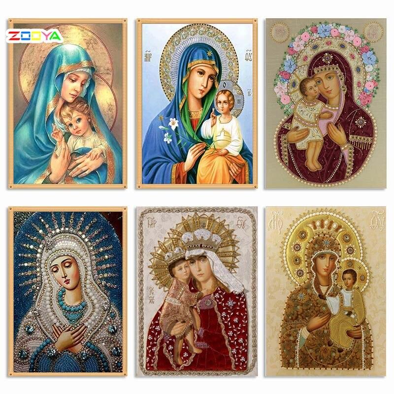 Zooya 5d pintura diamante ponto cruz 6 imagem religião ícone diamante bordado mosaico ano novo decoração presente handmake 2zj05