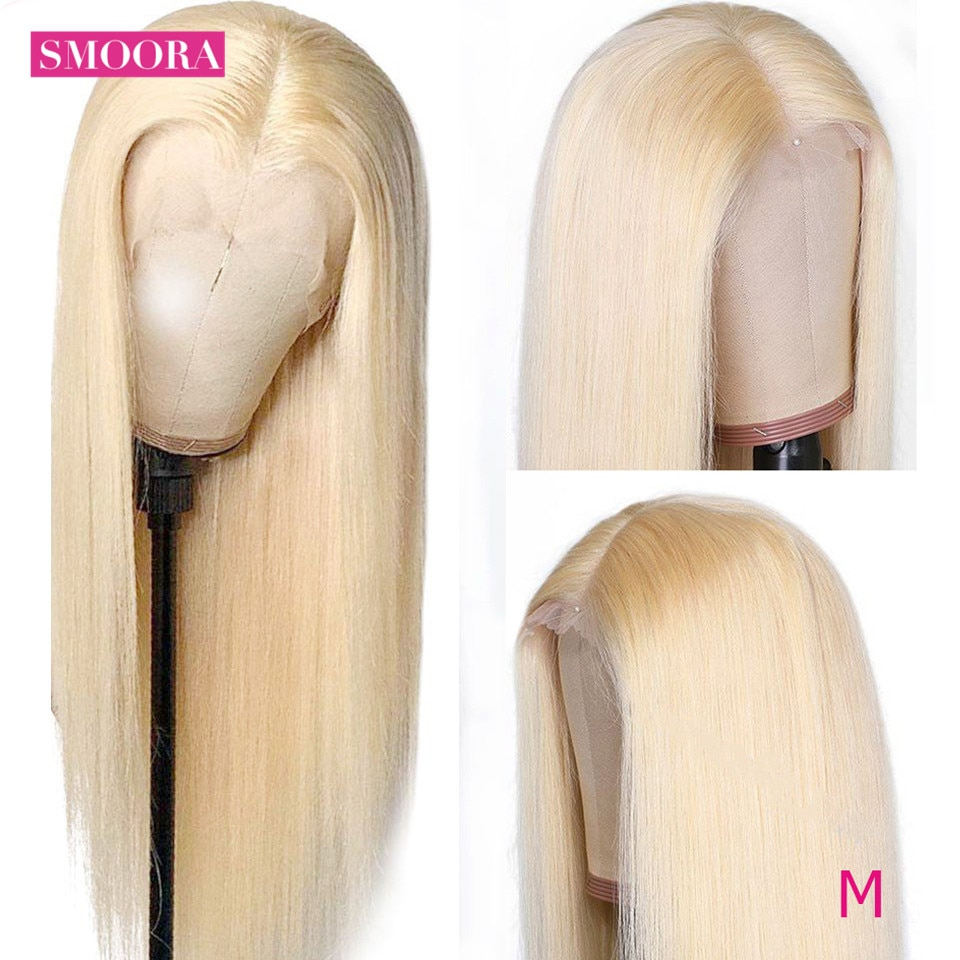 Indian Straight 613 Blonde Lace Front Human Hair Wigs Pre Plucked Natural Hairline 13*1 Middle Part Remy Wig