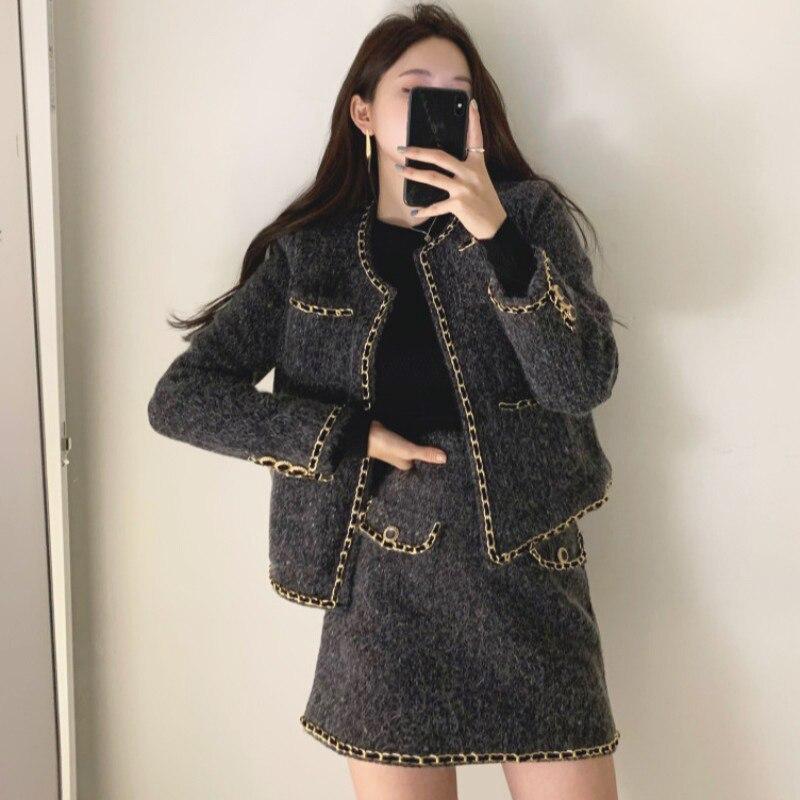 Tweed Short Coat Suit Women's 2021 Autumn Winter New Korean Temperament Fashion Slim Bag Hip Skirt C