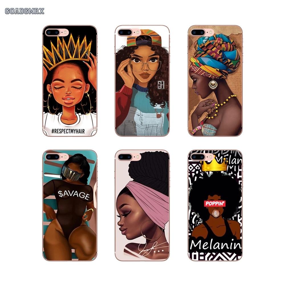 De moda de magia negra chica melanina Poppin para iPhone 6 iPhone 6 6S 7 8 Plus X XS X MAX XR 4 4S 5 5S SE 5C TPU funda de carcasa transparente